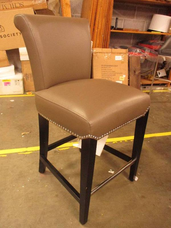 Magnificent Faux Leather Counter Height Chair With Nailhead Accents Inzonedesignstudio Interior Chair Design Inzonedesignstudiocom