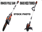 RM4000 Cordless Weed Eater and RM 4050 Cordless Pole Saw - New Damage Box- 1 Battery and 1 Charger