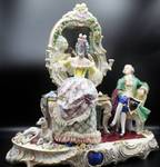 "Large 16.5"" tall Porcelain Scene of Woman Primping and Man Waiting for Her Figural Group- Marked"