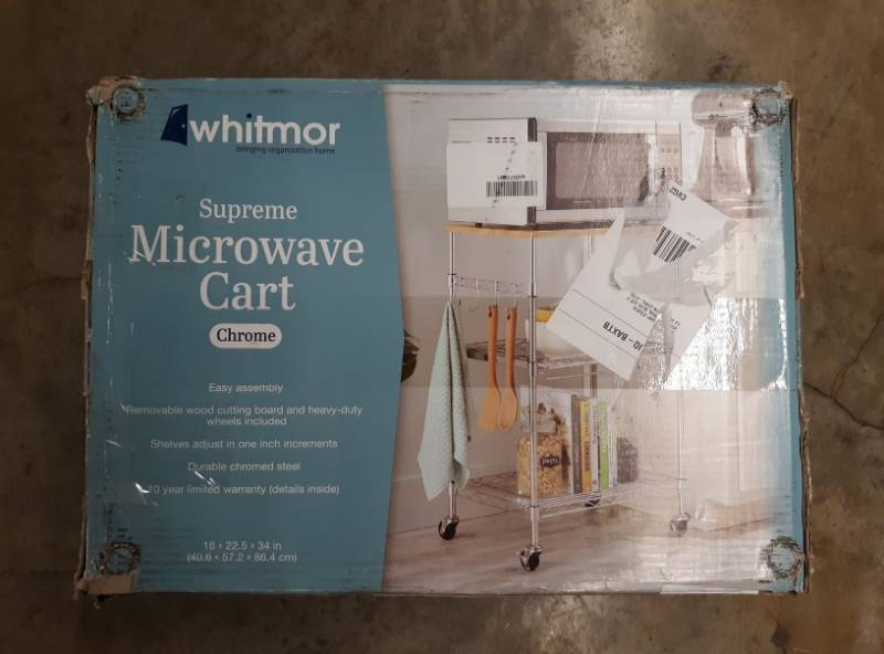 Chrome Whitmor Supreme Microwave Cart