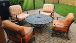 Seasonal Concepts Outdoor Patio Set (4)Chairs and Fire Pit Table