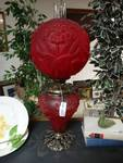 "Antique ""Success"" Iris pattern Red frosted glass double globe electrified lamp"