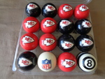 Kansas City Chiefs Billiard Ball Set-  Pool Balls