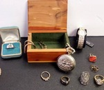 Vintage Watches & Rings w/ Wood Box