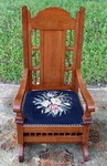Antique Needlepoint Platform Rocking Chair
