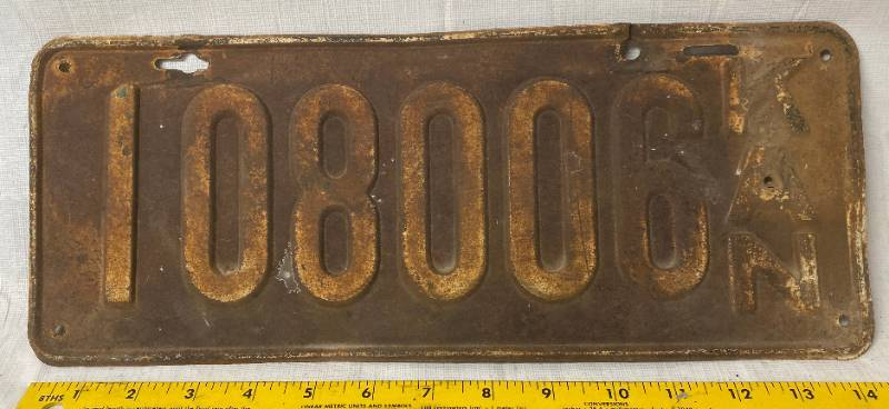 Vintage - OLD - Kansas - Metal License Plate