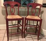 Set of 2 Pottery Barn barstools (Red wood with wicker seats)