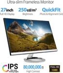 Asus Designo MX279HS Monitor - 27  Full HD (1920x1080), IPS LED with 178° Wide-View, Frameless, 1080P, Low Blue Light Eye Care HDMI VGA