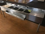 Nice (4) bay stainless steel bar sink with two faucets and speed rail as pictured