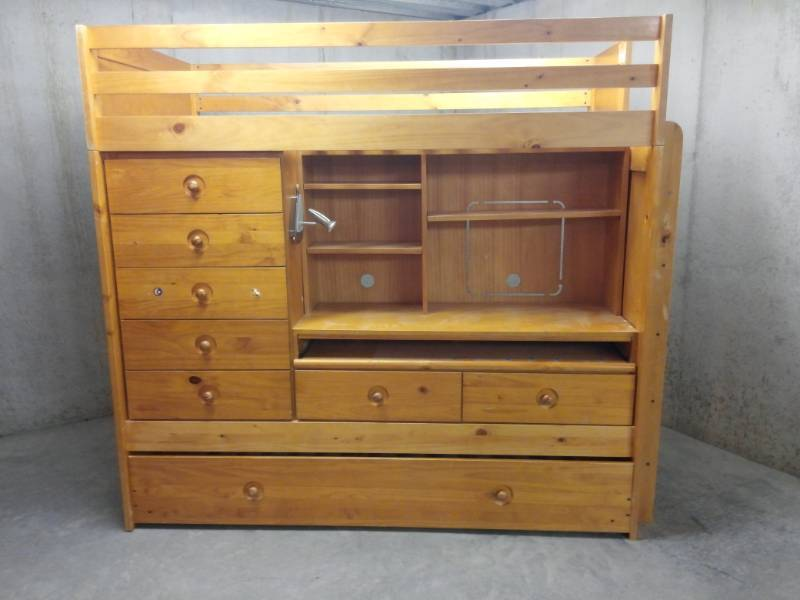 Oak Bed over Desk Chest of Drawers Setup