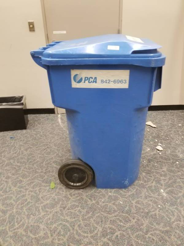 Blue Rolling Recycle Bin
