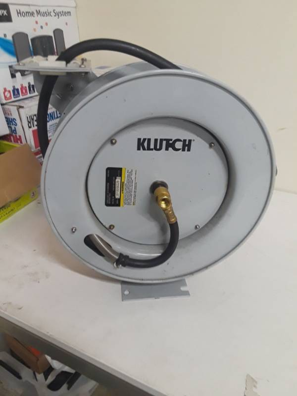 Klutch Auto Rewind Air Hose Reel — With 3/8in. x 50ft. Hybrid Polymer Hose, 300 Max. PSI