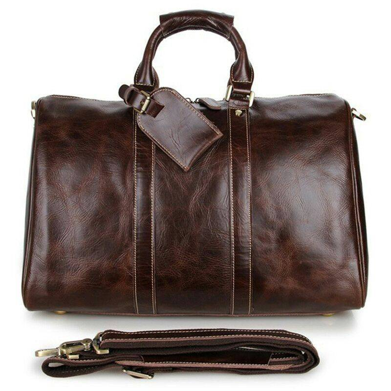 Baigio Mens Leather Travel Bags Overnight Duffle Luxury Brown Designer Brand Hand Luggage Shoulder Bags Travel Bag