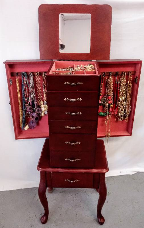 Stand Up Jewelry Cabinet/Case  Contents Included  Jewelry Galore-  Treasures!
