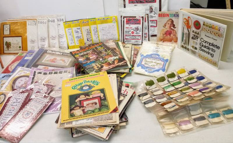Cross Stitch  HUGE Lot- Hoops  Books- WOW!