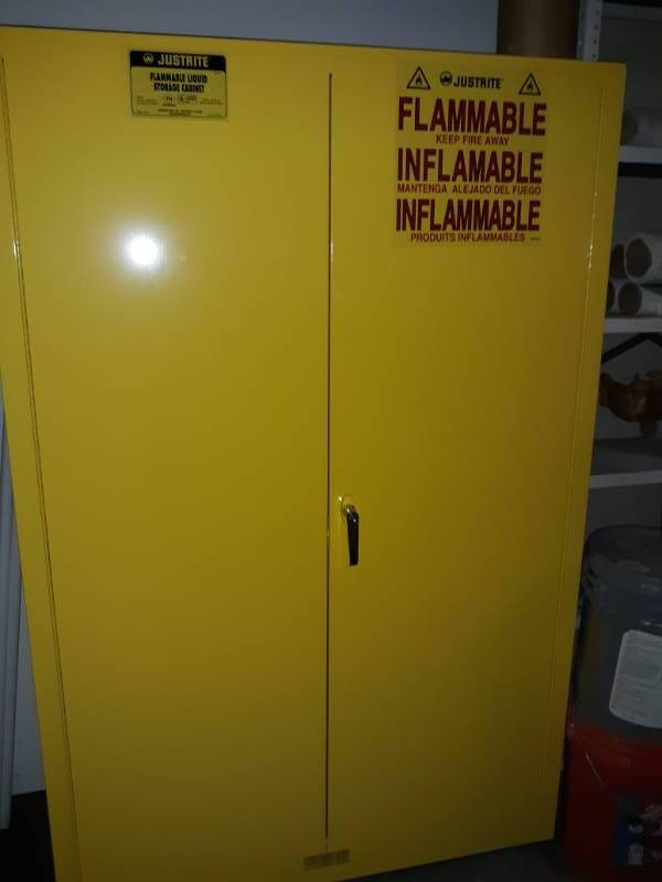 Yellow Metal Fire Cabinet Contents Included
