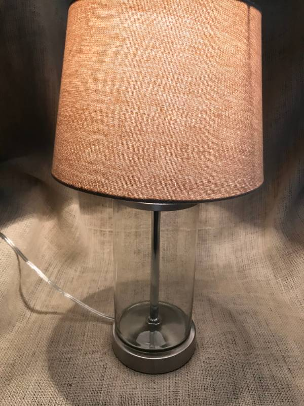 Fillable Clear Glass Lamp Base and Shade (fill with your favorite trinkets, corks, sea glass, endless options)