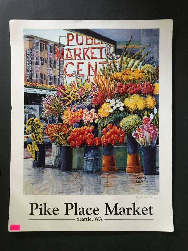 Print Pike Place Market Seattle with info about artist-Ed Newbold
