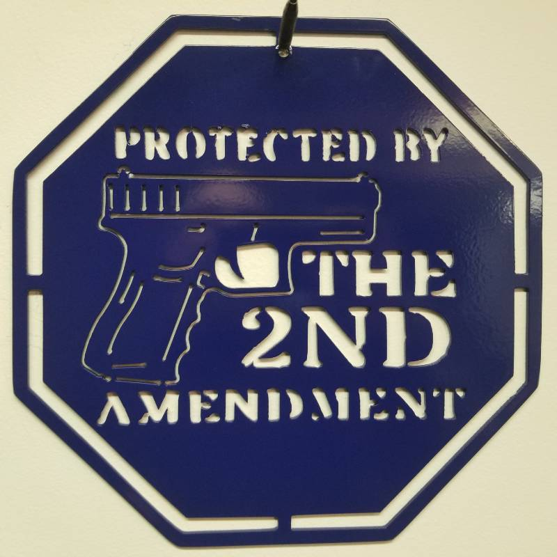 """Protected by the 2nd Amendment"" Blue Powder Coating Steel Sign - 11.5"" x 11.5"" made from 1/8"" Steel"