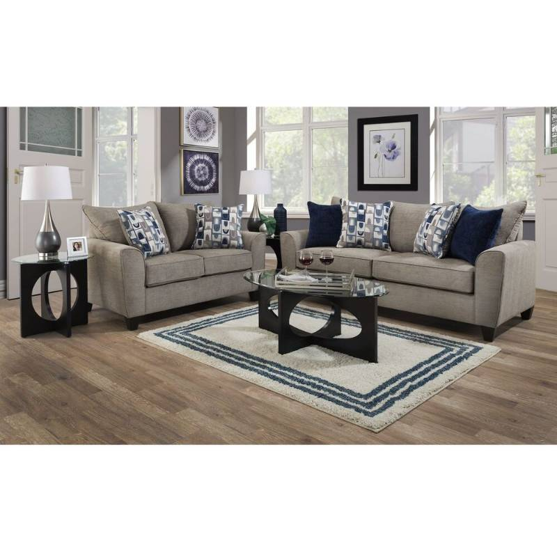 LANE 2-Piece Eden Living Room Collection and 6-Piece Dania Tables, Laser Gull Gray Lamps and Sag Harbor Rug Bundle. MSRP $3800.00