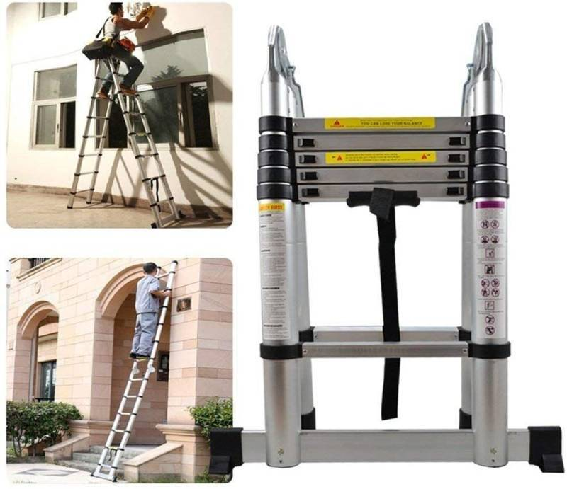 Aluminum telescopic ladder 3,8m/12.5ft hinged Multifunctional ladder Aluminum ladder folding ladder 150 kg 330lb load capacity 12.5'(3,8m hinged)
