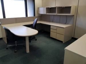 |||||Build an Office|||||Steelcase Cubicles, Office Chairs, Conference Table, Lateral Cabinets, Whiteboards, Walls, Clocks, Carpet Tile, Mini Blinds, , Filing Cabinet, Desks|||||See Video Walk-through|||||Take as much as you want!!!!