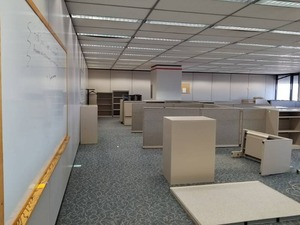 |||||Build an Office|||||Steelcase Cubicles, Office Chairs, Conference Table, Lateral Cabinets, Whiteboards, Walls, Clocks, Carpet Tile, Mini Blinds, Partitions, Filing Cabinet, Ceiling Tiles|||||See Video Walk-through|||||Take as much as you want!!!!