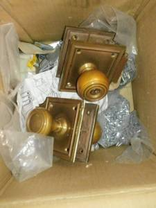 Vintage Brass Door Handles and Plate Covers