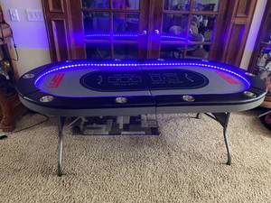 ESPN - Texas Hold-Em LED lighted Portable Poker Table - Very Cool!! see pics for measurements - SEE VIDEO