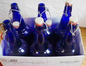 Lot of 6 Blue  Bottles w/ easy wire swing caps