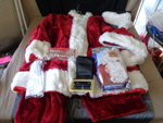Santa Suit w/ Hat ,beard,glasses, belt, shoe covers, glove very nice suit