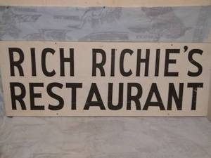 Rich Richie's Restaurant Metal Sign