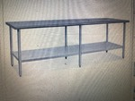 New 84 inch stainless steel table with underneath storage