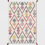 OPALHOUSE Hand Tufted Multicolored Geometric Tassel Area Rug 5ft x 7ft Brand New