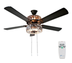 "52"" Njie Caged Crystal 5 Blade Ceiling Fan with Remote"