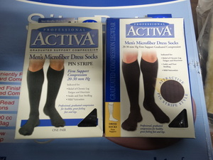 2 pairs Activa graduated compression socks- New in box- Size-Small