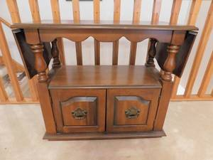 "Dark Wood Drop-Leaf Sideboard/Server with shelf & understorage 33""x29""x16"" sides down, 52""x29""x16"" sides up, on Casters"