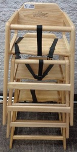 Royal Industries Stackable High Chair w/ Waist Strap - Wood, Natural - 3 Units