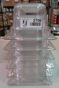 "Half Long Size Clear Polycarbonate Pan 4"" - Lot Of 6"