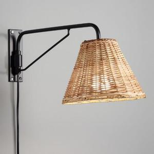 World Market Wall Sconce with Woven Shade & Black Metal