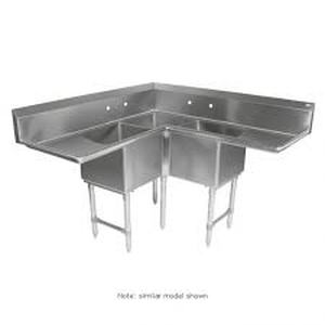 John Boos Stainless Steel Three Compartment Corner Sink w/ Dual Drainboards