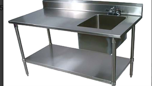 New stainless steel work table with prep sink faucet not included