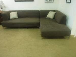 Brown Modern sectional couch sofa- throw pillows included