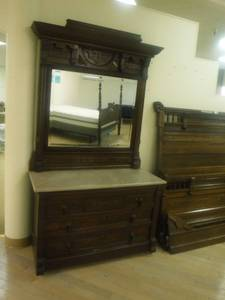 Beautiful ornate marble topped Walnut wood  dresser with mirror