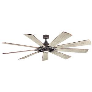 "Kichler Gentry XL 85"" 9 Blade Indoor / Outdoor DC Motor Ceiling Fan with Blades, LED Light Kit and Wall Control"