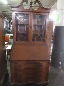 Mahogany Drop Down Desk w/Upper Cabinet