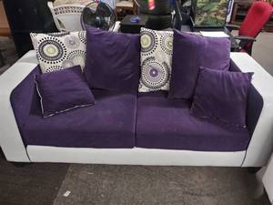 Custom White Leather Couch with Purple Cushions. ( KU Colors Maybe )