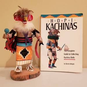 Native American Roast Corn Kachina Doll by MY- 10 in. tall and Hopi Kachinas book by Barton Wright