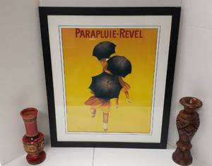 French Framed Print Parapluie-Revel (22 in. x 26 in.) and 2 Wood Carved Vases (10 to 12 in. tall)