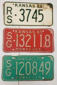3 Vintage Kansas License Plates - 1963, 1965 and 1970